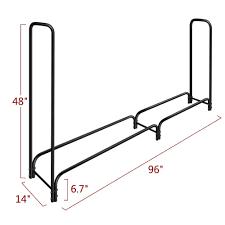 8ft outdoor tubular firewood rack for fireplace log holder