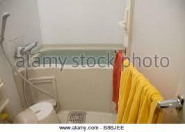 bath tub in a japanese bathroom with a window toward the wood