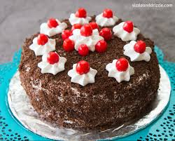 black forest cake and bed ar rested sizzle and drizzle