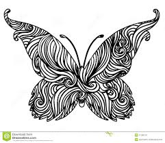 abstract black and white butterfly design stock illustration