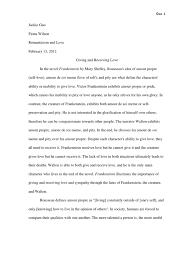 Amour De Soi Meme - frankenstein essay frankenstein mary shelley