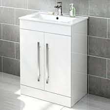 White Vanity Sink Unit 600 Mm White Gloss Vanity Sink Unit Ceramic Basin Bathroom Storage