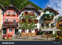 traditional colorful houses decorated flowers alpine stock photo