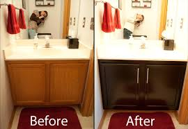 staining cabinets darker gel stain before and after coffee kitchen