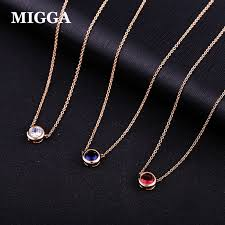 rose zircon necklace images Migga elegant single cz stone zircon crystal pendant necklace rose jpg