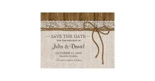 rustic save the dates rustic wedding save the date with burlap and lace postcard
