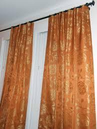 designer silky drapes woven floral design curtains orange gold