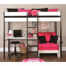 Round Sleeper Bed Sofa Bedroom Black White Wooden Bunk Beds With Corner Desk Added By