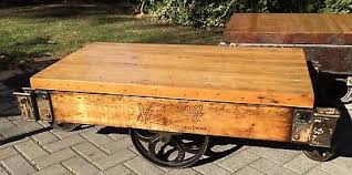 railroad cart coffee table vintage antique industrial factory nutting lumber railroad cart