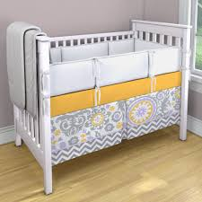 lavender grey and cheddar yellow crib skirt and sheet with