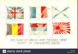 Japan War Flag World War One Patriotic Postcard Of Allied Flags Stock Photo