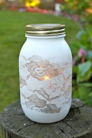 love this spray painted over lace mason jar diy wedding