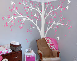 large tree decal white tree wall decal stickers corner