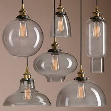 Industrial Glass Pendant Light Retro Vintage Industrial Smokey Glass Shade Loft Pendant Light