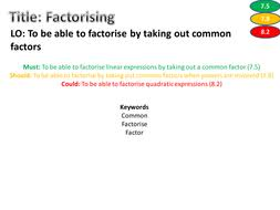 factorising worksheet differentiated levelled and with answers