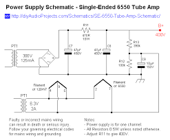 single ended se 6550 tube amplifier schematic