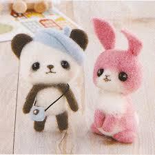 diy needle wool felt panda and rabbit kit japanese craft kit