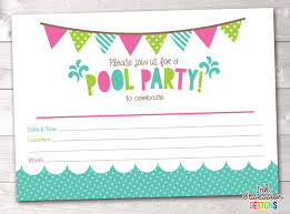 girls pool party printable birthday party invitation u2013 instant
