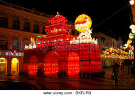 moon festival decorations senado square with mid autumn festival decorations macau stock