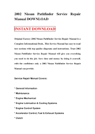 2002 nissan pathfinder service repair manual download