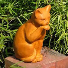 cast cement contented cat outdoor garden statue ebay