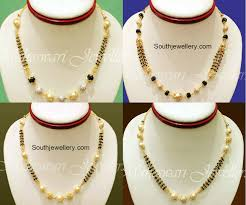 short chain pearl necklace images Black diamonds short mangalsutra jewellery designs jpg