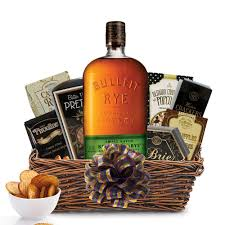 gourmet gift basket send this bulleit rye bourbon gourmet gift basket online whiskey