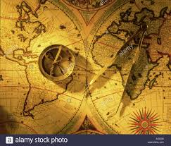 World Map Antique by Antique World Map Compass And Dividers Stock Photo Royalty Free