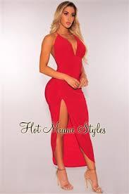 miami styles blush ruched slit halter dress