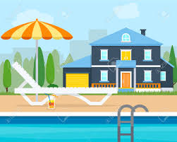 house with swimming pool clipart clipground