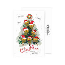 buy merry furry funny christmas tree postcard in online shop