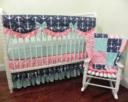 aqua crib bedding etsy