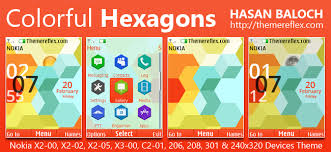 nokia 206 cute themes colorful hexagons live theme for nokia x2 00 x2 02 x2 05 x3 00