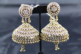 big jhumka gold earrings indian jewelry store swasam big jhumka white and gold