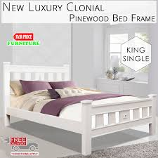 new luxury clonial pinewood king single white bed frame with solid
