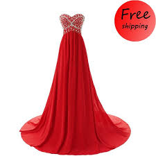 elegant red long chiffon beaded prom party dress for women