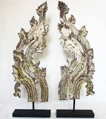 asian antiques teak wood thai roof gable ornaments euo81