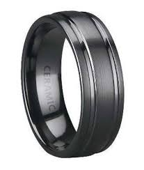 black wedding band mens ceramic wedding band satin finish