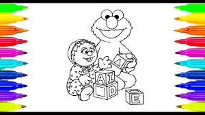 colouring sesame street elmo and babies for kids learning paint