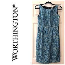 abstract pattern sleeveless dress worthington blue green gold abstract pattern sheath w pockets mid