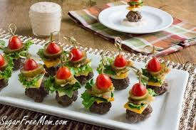 m fr canapes mini bun less cheeseburger bites with thousand island dip