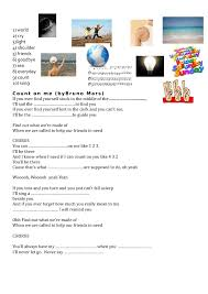 I Can Count On You Bruno Mars Worksheet Count On Me By Bruno Mars Friendship