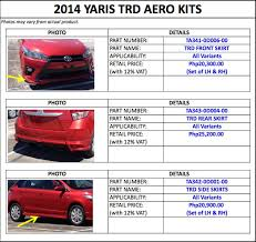 toyota cars price list philippines how much do the trd accessories for the all toyota yaris cost