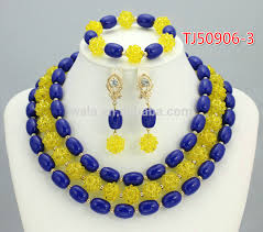 bridal beads necklace images New arriving nigeria bridal beads royal blue jewelry sets jpg