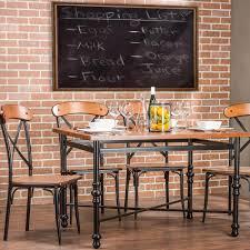baxton studio broxburn 5 piece light brown wood and metal dining