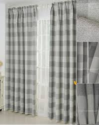 Grey Plaid Curtains Shabby Chic Linen Cotton Fabric Curtains Blackout Print Gray