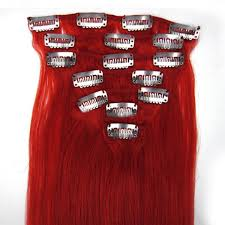 Hair Extension Clips by 7 Pieces 16 Inch Bright Red Clip In Remy Straight Hair Extensions