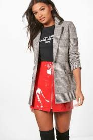 boo hoo clothing check blazer coat boohoo