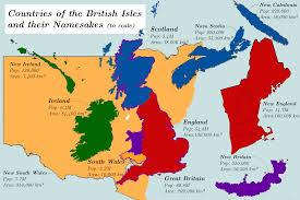 Map Of The British Isles Countries Of The British Isles And Their Namesakes To Scale