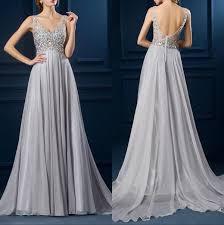 light gray long dress shinny crystals v neck empire waist maternity gowns light gray